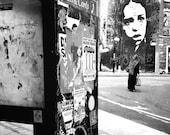 Phone Booth, Black and White Graffiti Photograph, Stinkfish, Bristol, England