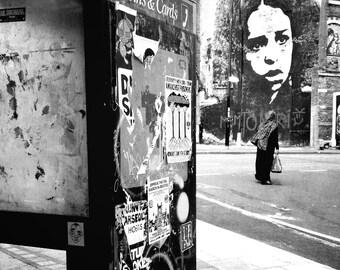 Stinkfish, Mural, Graffiti, British, Phone Box, Black and White, Photo, Stokes Croft, Bristol, England, UK, Photographer Alison Zak-Collins