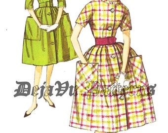 Simplicity 3511 Vintage 1960s Dress with Detachable Collar and Large Pockets Sewing Pattern Sz 16