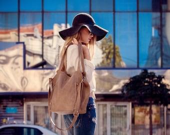 Beige leather bag- Soft leather purse - Women bag - Tote bag - Crossbody bag - Leather tote - Zipper bag - Lined Bag - Shoulder bag