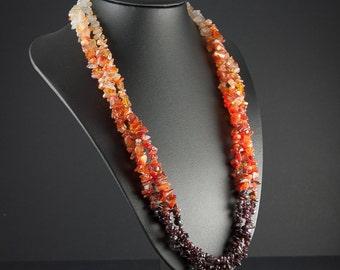 Layered Multi Strand Statement Stone Necklace, Obmre Orange and Red, Garnet and Carnelian Semi Precious Stones