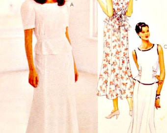 Two Piece Dress Pattern Ankle Length Skirt Top Blouse Sleeveless Option McCall's 8063 Sewing Patterns Size 12 14 16 Uncut