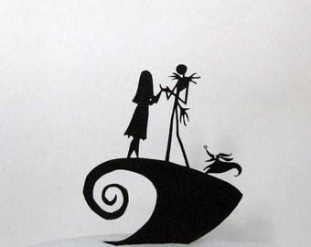 Wedding Cake Topper -The Nightmare Before Christmas Jack, Sally & Zero silhouette