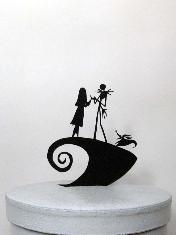 Wedding Cake Topper -The Nightmare Before Christmas Jack, Sally & Zero