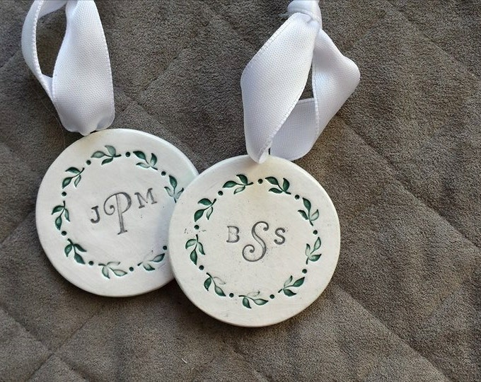 Featured listing image: Newlywed Ornament, Monogram Ornament, Ceramic Ornament, Our First Christmas