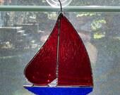Stained Glass Sailboat - Nautical Decor - Sailboat Suncatcher - Boat Art - Coastal Art - Beach Decor - Red - Blue