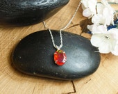 Orange Ethiopian Fire Opal Necklace, Sterling Silver Necklace, 1.6 Carat Facet 12.5 x 10 mm Extreme Fire  Natural AAA+++ Fire Opal
