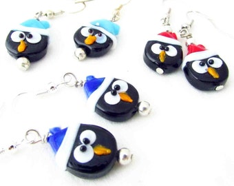 Penguin Earrings, Fun Earrings, Penguin Dangle Earrings, Holiday Earrings, Girl's Earrings, Winter Earrings, Kid's Earrings, Animal Earrings