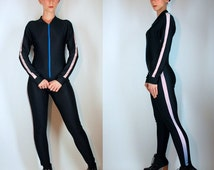 Vintage 80s Spandex Shiny Black Racing Stripe Jumpsuit. Stirrup Footed Maxi Dress Bodycon Bodysuit Avant Garde Costume Extra Small - Medium