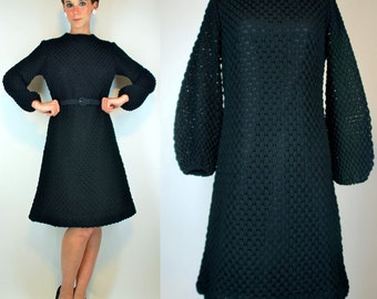 Vintage 60s Black Popcorn Crocket Knit Sweater Dress w/ Balloon Bell Sleeves + Flared Skirt. Mod boho Party Cocktail Mini LBD Small - Medium