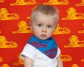 Baby Boy Bibs Red Rhinos Screen Prints design on Turquoise Cotton African Bibs Scarf Bib Toddler Bibs Dribble Bibs Drool Neckerchiefs