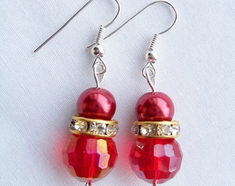 Red pearl and crystal earrings - Swarovski banded earrings - red glass pearl earrings - red jewerly - red pearls - red crystals - red gift