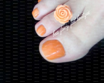 Toe Ring - Light Orange Rose - Stretch Bead Toe Ring