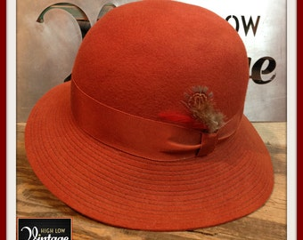 Vintage Rust Wool Cloche Hat Betmar New York 1960s