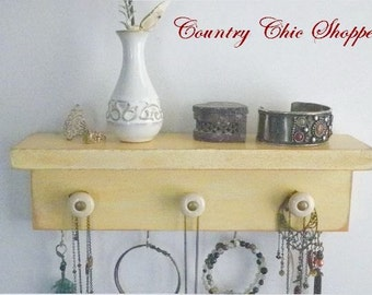 Cottage Chic Necklace Organizer with Decorative Knobs. Available in 12x4 or 16x6. Choose Your Color. Jewelry Shelf Key Hook Scarf Holder