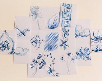 Blue China Inspired Watercolor Print Set, Set of 15 Prints