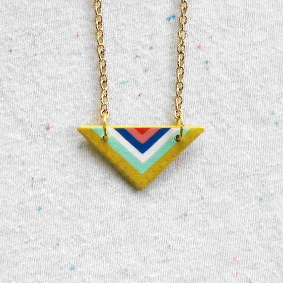 Triangle Mini Pendant Necklace in Yellow