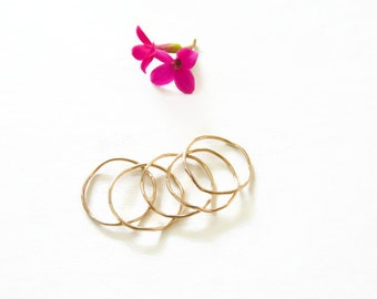 Gold Filled Wavy Stackable Rings Gauge 18 Hammered Rings Handmade Jewelry For Her
