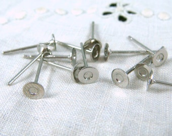 Stainless Steel Earring Stud Component, 4mm Brass Pad, 10mm Stainless Steel Post (S028-23) - Qty. 40