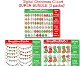 Christmas Digital Clipart MultiPack, Instant Download Clip Art, Red & Green Printable Xmas Bunting Stockings Ornaments