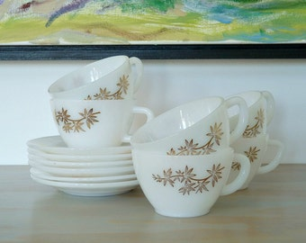1960s Federal Glass Golden Glory Milk Glass and Gold Bamboo Cups and Saucers