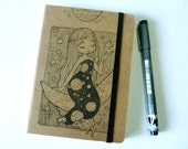 The Girl on The Moon, Planet girls series - Notebook, Illustration, blank Notebook, Hand Drawn, OOAK