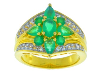 14Kt Yellow Gold Plated Green Agate Ring