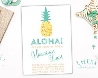 Hawaiian Luau Invitation, Luau Party, Pineapple Invitation, Hawaiian Luau Party, Retro Hawaiian Invitation