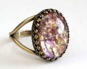 Vintage Gold Opal Ring, Purple Fire Opal Ring, Cocktail Ring, Glass Cabochon Ring, Adjustable Ring, Filigree Statement Ring Jewelry Gift