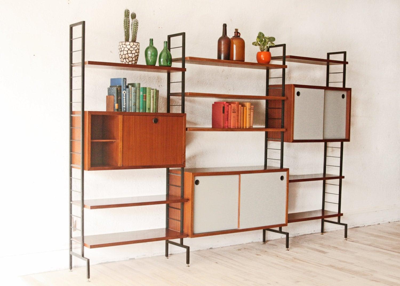mid century teak wall unit free standing italian modern. Black Bedroom Furniture Sets. Home Design Ideas