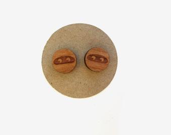 Ninja Earrings // Ninja Faces // Wooden Ninja Stud Earrings // For Her // Graduation // Wooden Stud Earrings // Unique // Ninja //