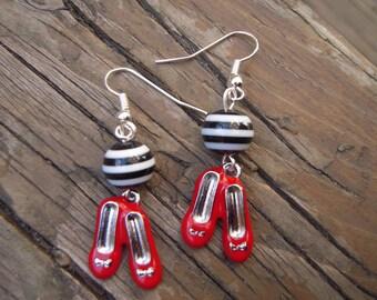 Cute red shoes earrings