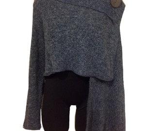 One sleeve shawl / Unique asimmetrical top / Women chic jacket / Shawl / Jacket / Shrug