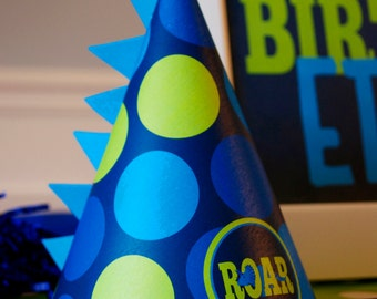 ROAR Dinosaur Party Hats / Boy's Dinosaur Party / Printable Dino Party Hats in Navy, Blue & Lime Green / INSTANT DOWNLOAD - Printable