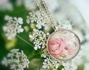Elegant peony necklace, Peony bridesmaid gift, Peony pendant, peony jewelry, soft pink flower pendant, Peony botanical necklace,Gift for mom