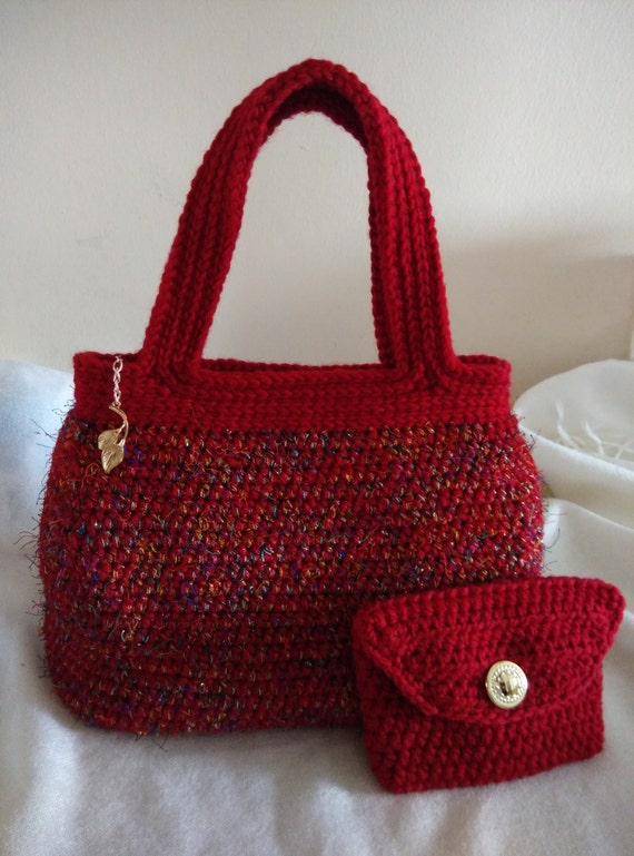 Crocheted Crimson Evening Hand Bag With Lining. Handmade Bag With ...