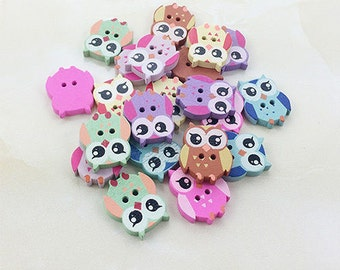 8 Wood Sewing Buttons Owls Mixed