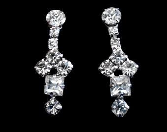 Vintage Mid Century Rhinestone Earrings