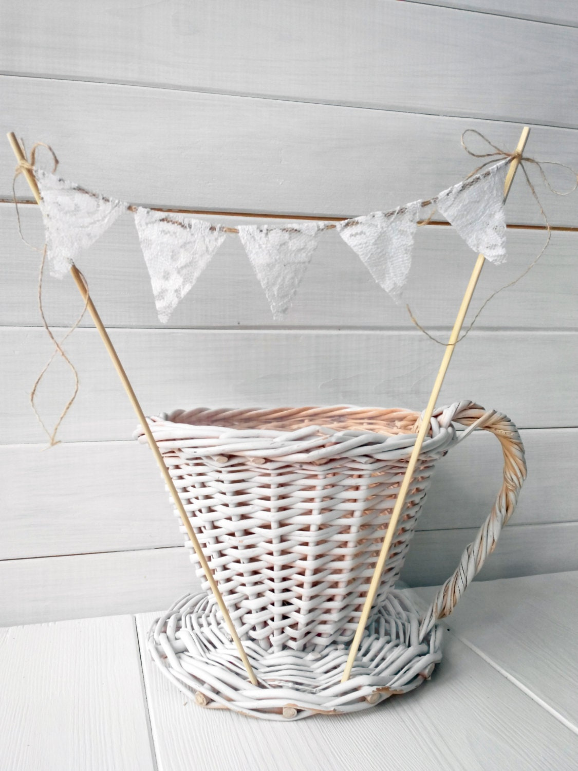 Lace wedding cake topper bunting banner shabby chic vintage