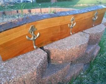 Rustic Wood Coat Rack, 3 ANCHOR Hooks. Minimalist Entryway Decor. Towel Rack, Hanger. Reclaimed Wood Home Decor.