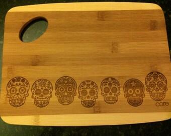 Day of the Dead Sugar Skull Cutting Board-7 in Line-Dia de los Muertos