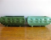 Vintage Pair of Patterned Green Planters