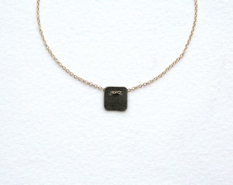 Gold or Rose Gold Oxidized Silver Square Necklace – Tiny Oxidized Silver Charm on Gold Chain