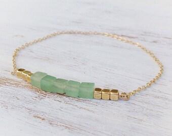 Gold filld bracelet,aventurine bracelet,gemstone bracelet,gold beads bracelet,beaded bracelet, green aventurine bracelet,21053