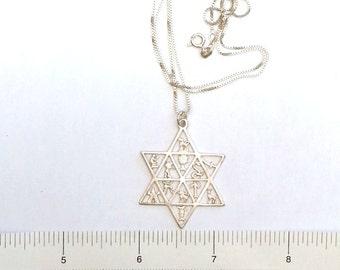 Star of David Necklace -Magen David - Israel Jewelry - Handmade The 12 Tribes of Israel - Judaica Jewelry -  Jewish Religious Jewelry