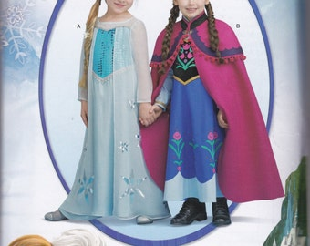 S0733 Simplicity Disney Frozen Anna & Elsa Child's Costume Sewing Pattern Sizes 3-8