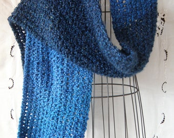 Hand Knit Extra Long Scarf/ Super Soft Scarf Hand Knit in Blue Yarn