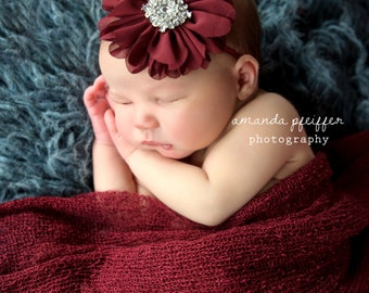Burgundy Headband, Newborn Baby Headband, Wine Headband, Newborn Photo Prop, Baby Headband