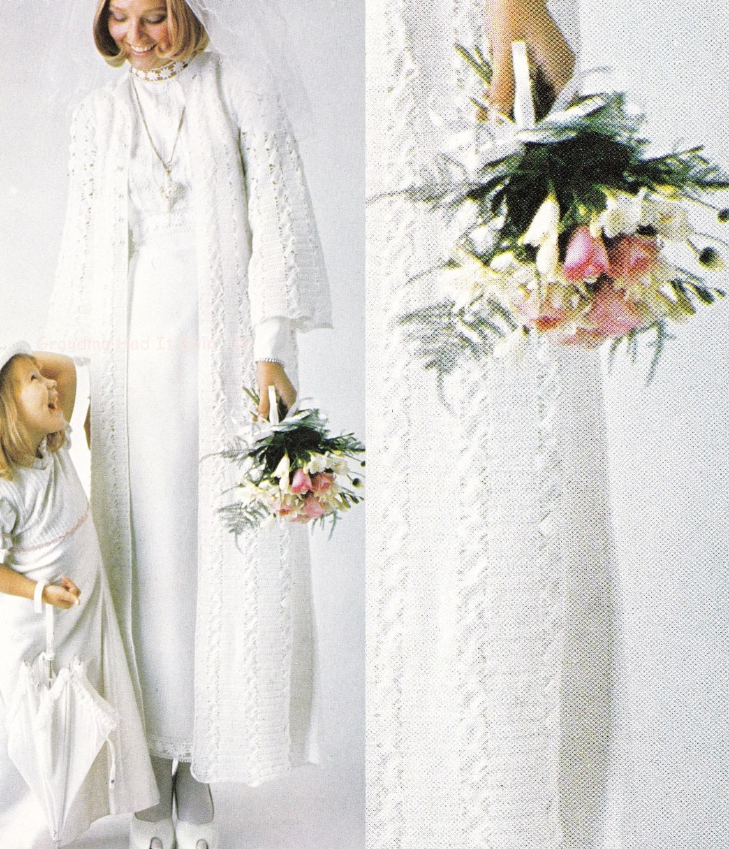 Crochet Pattern Vintage Wedding Dress Cover Bridal Coat