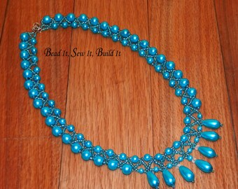 Teal Blue Bead-woven Pearl Necklace 19""